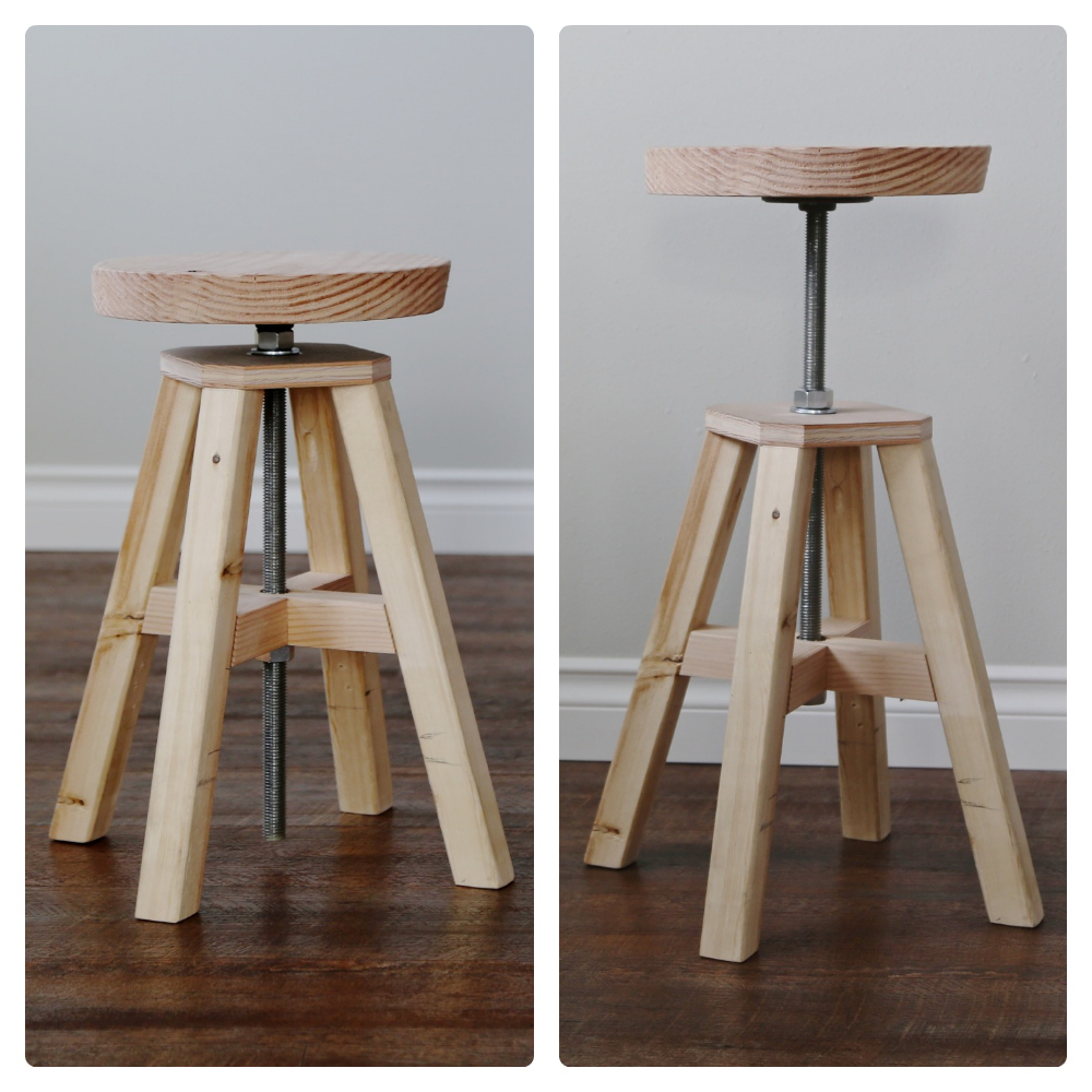 Diy Adjule Height Stool Made Of Hardware Parts And 2x2s Free Plans From Ana White