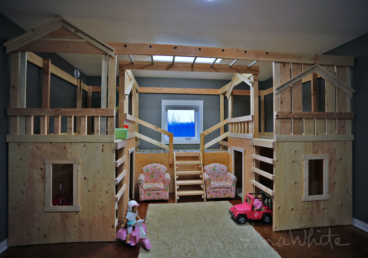 Ana White Diy Basement Indoor Playground With Monkey Bars Diy Projects