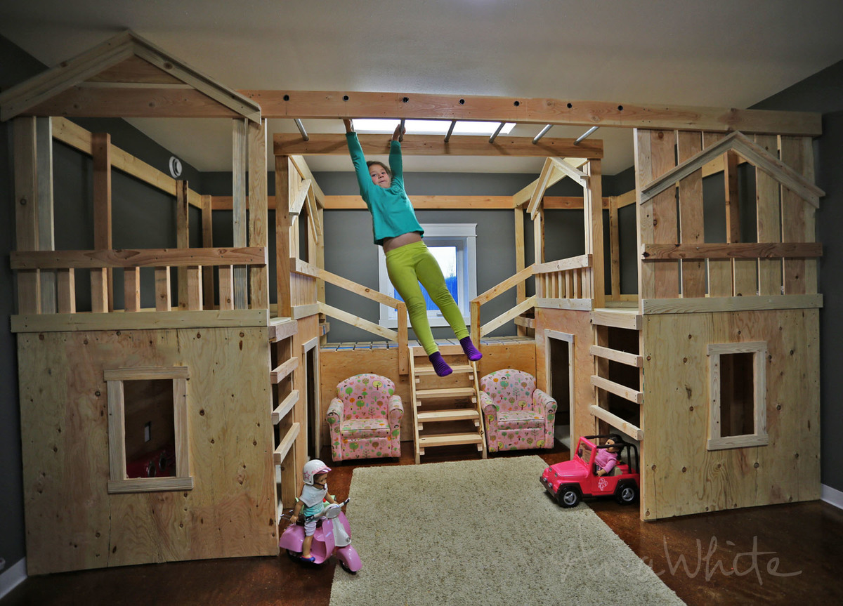 Ana white diy basement indoor playground with monkey for Cool rooms to have in your house