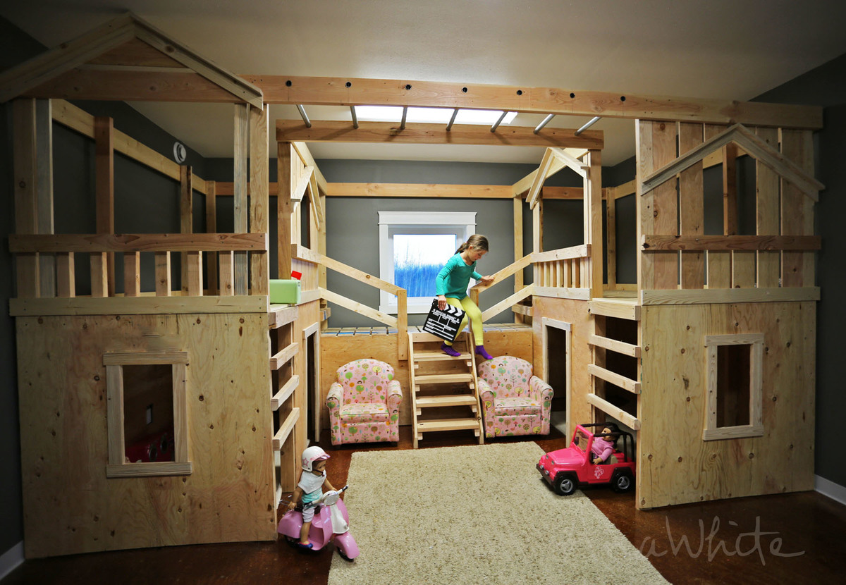 diy basement indoor playground with monkey bars knock