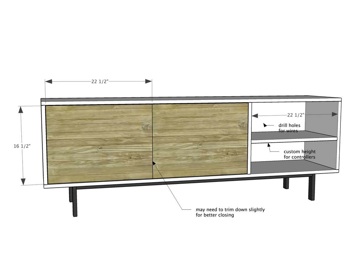 Long Modern Media Console Or Entertainment Center Ana White