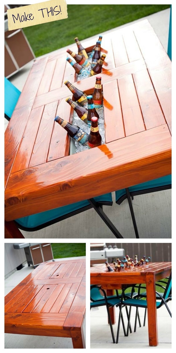 Ana White Patio Table W Built In Beer Wine Cooler Diy