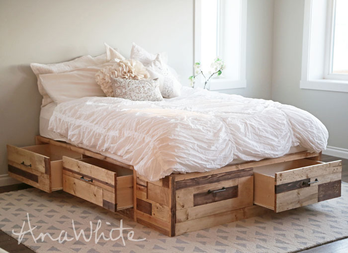 Ana white brandy scrap wood storage bed with drawers