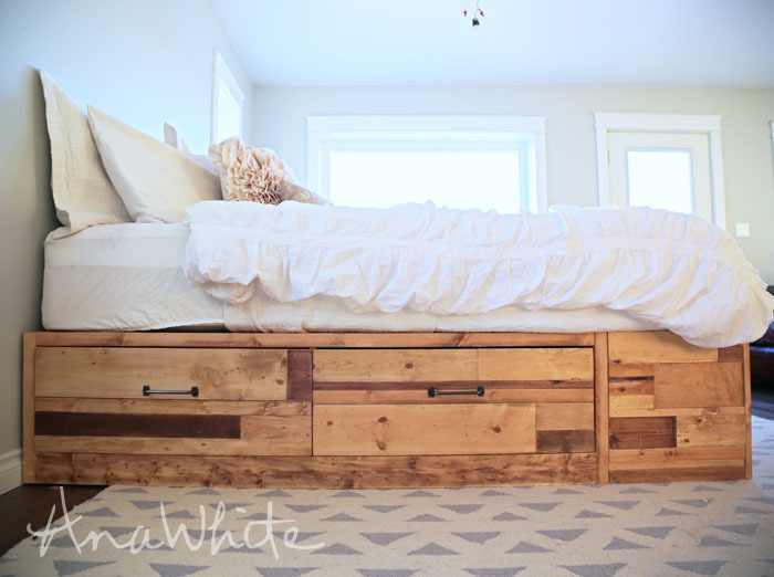 Beautiful Brandy Scrap Wood Storage Bed with Drawers KING