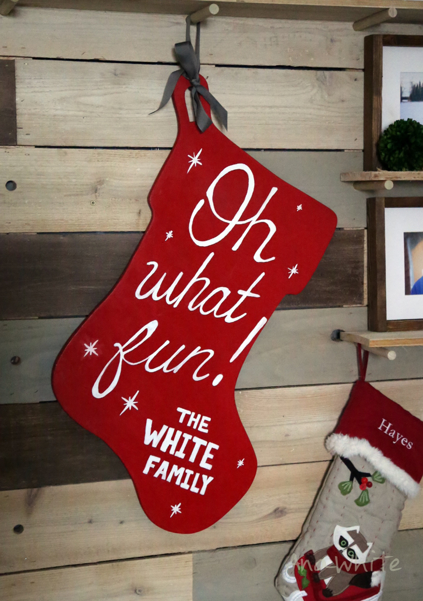 ana white oversized personalized wooden stocking wall decor for