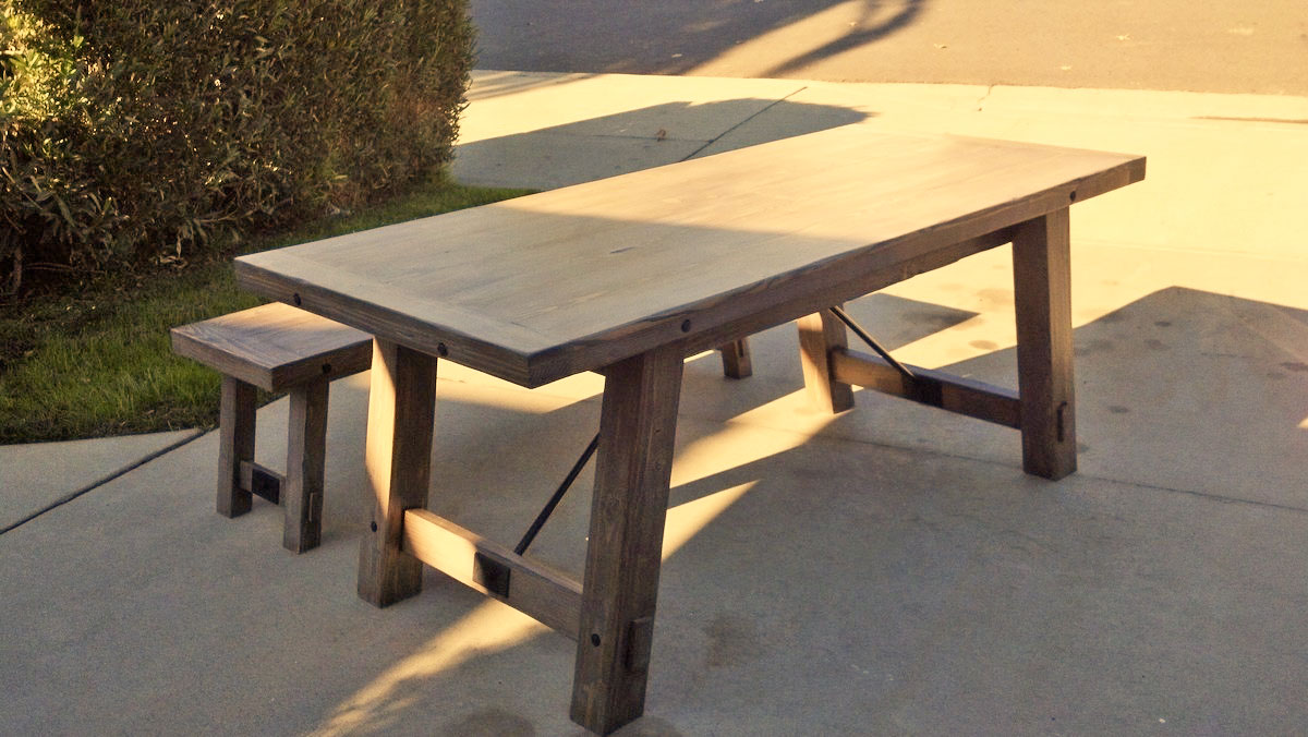 modern farmhouse table pottery barn benchwright knock off