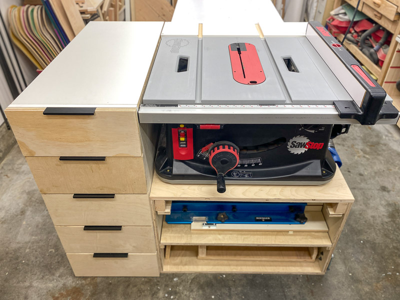 table saw stand with storage