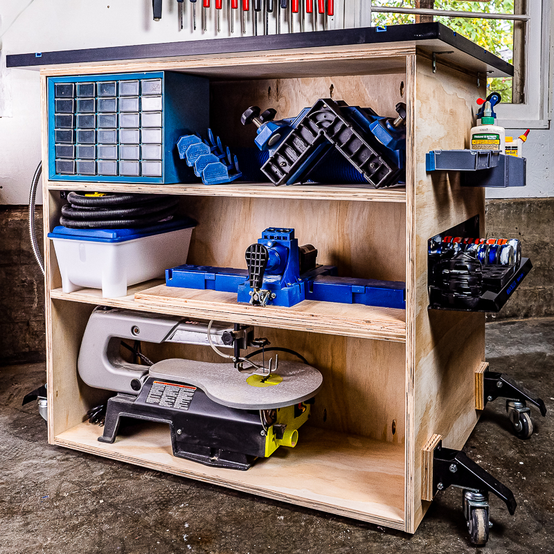 DIY workbench with shelves - back view