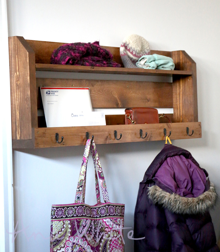 ... White | Small Pallet Inspired Coat Rack with Shelves - DIY Projects