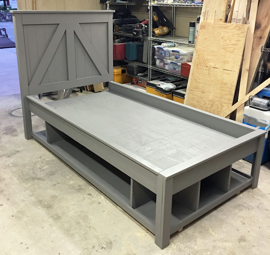 Open Storage Bed Frame Twin Ana White, How To Build A Simple Twin Bed Frame