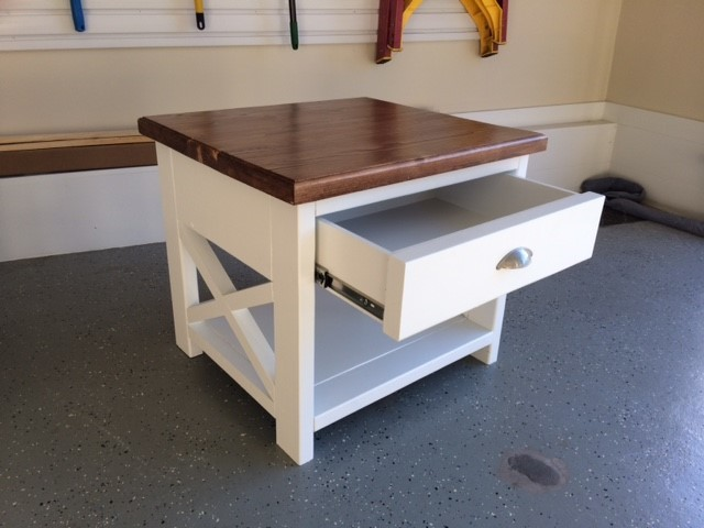 Rustic End Table With Storage Drawer
