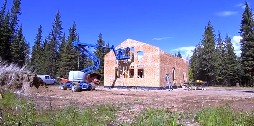 exterior sheathing on a simple house