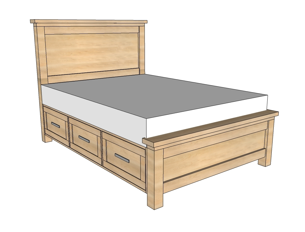 building plans bed frame with drawers