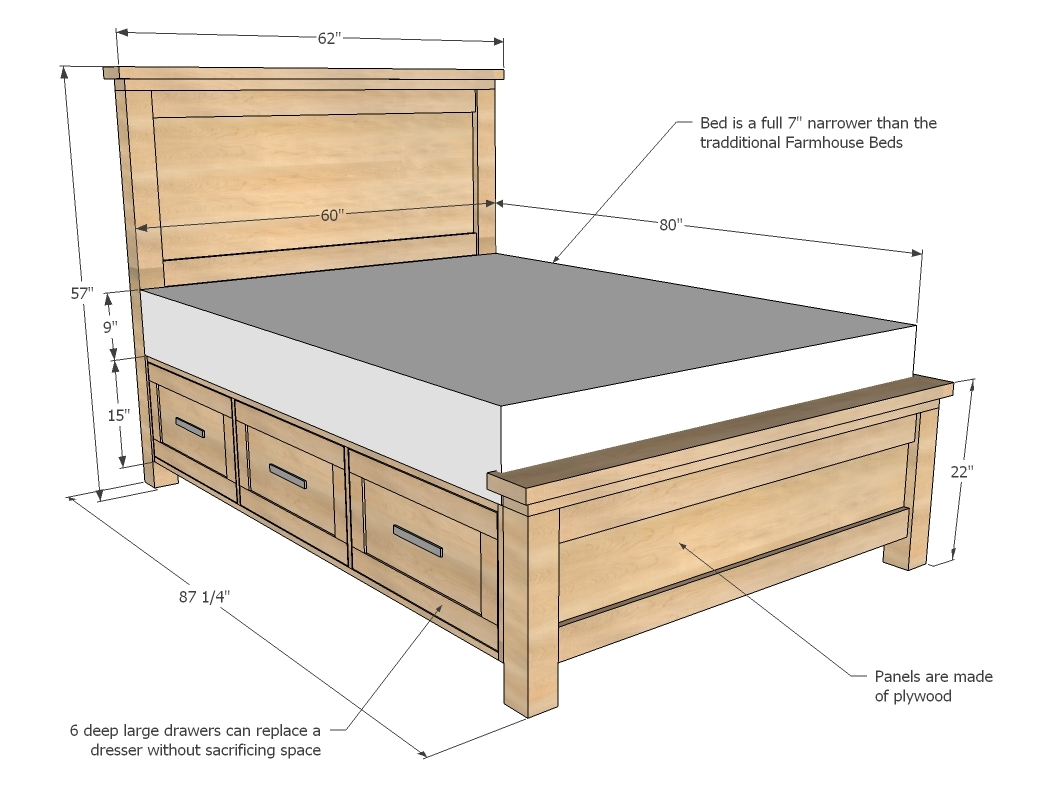 farmhouse storage bed dimensions queen
