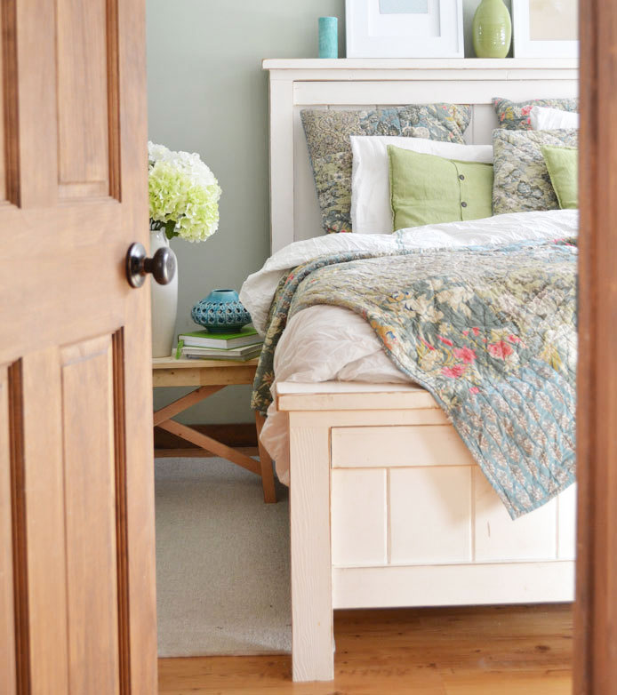 White farmhouse bed with distressed edges built by Ana White
