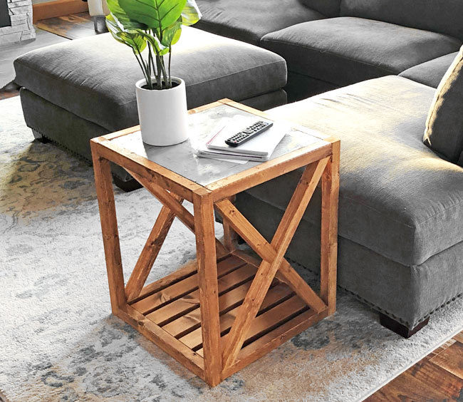 Modern Rustic X End Table Inspired By