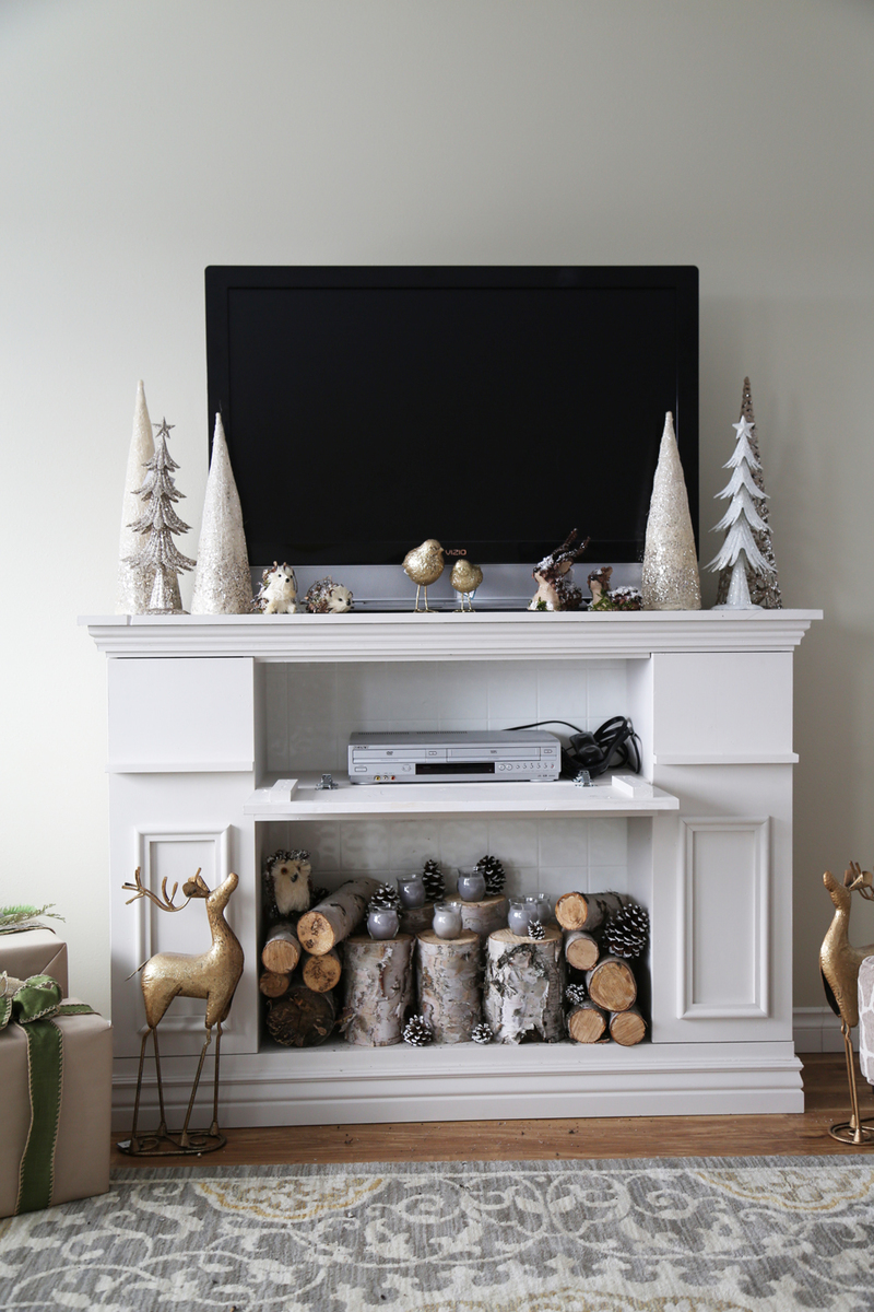 Faux Fireplace Mantle With Hidden Storage Cabinets Ana White