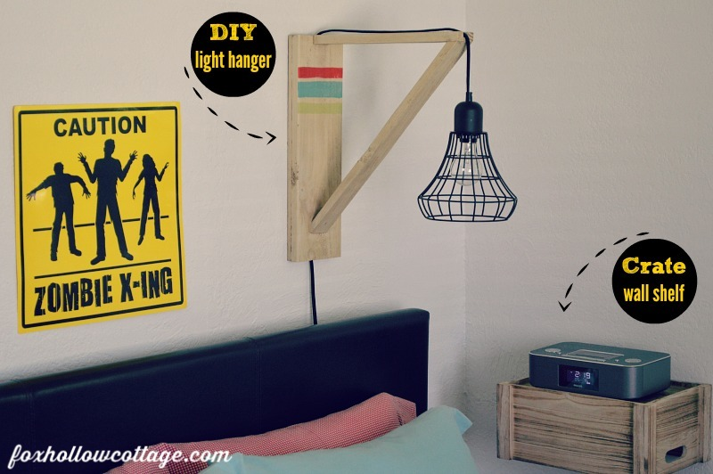 ana white diy industrial cage light wall hanger featuring fox hollow cottage diy projects. Black Bedroom Furniture Sets. Home Design Ideas