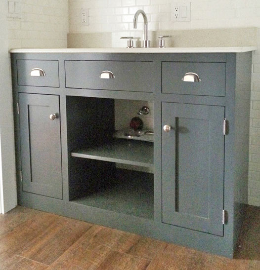 gray bathroom vanity with white top, modern farmhouse style bathroom