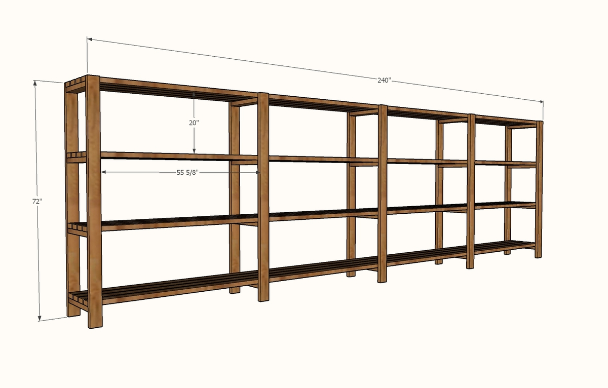 garage shelving dimensions diagram