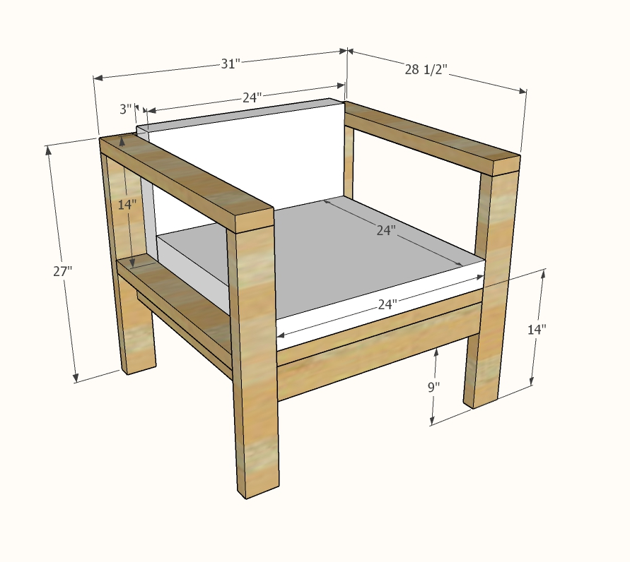 2x4 outdoor chair dimensions