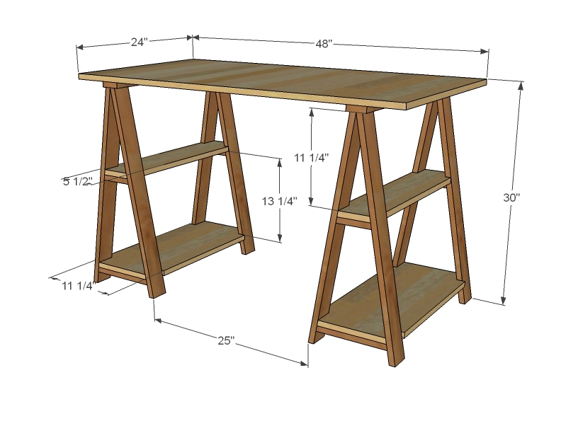 sawhorse desk plans