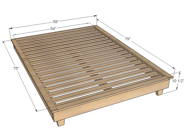 wood platform diy bed frame