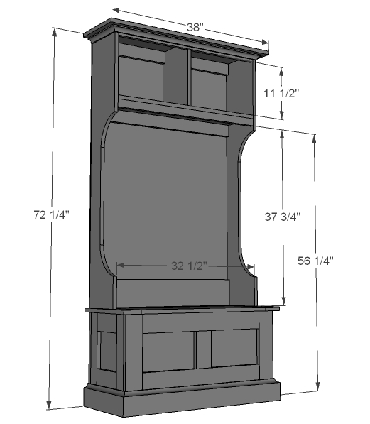 narrow hall tree hutch diagrams