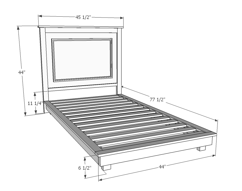 twin platform bed frame plan dimensions