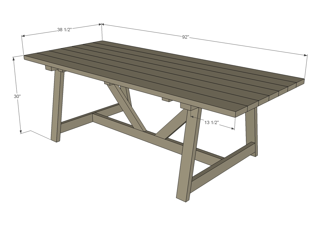 dimensions diagram for outdoor farm table