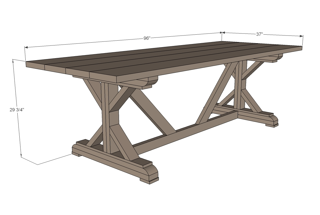 dimensions diagram of farmhouse table with X bracing