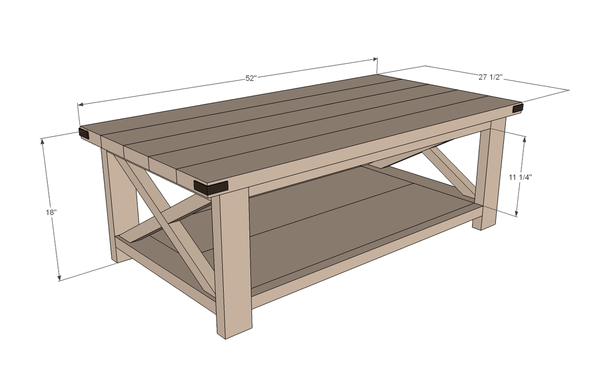 rustic x coffee table dimensions