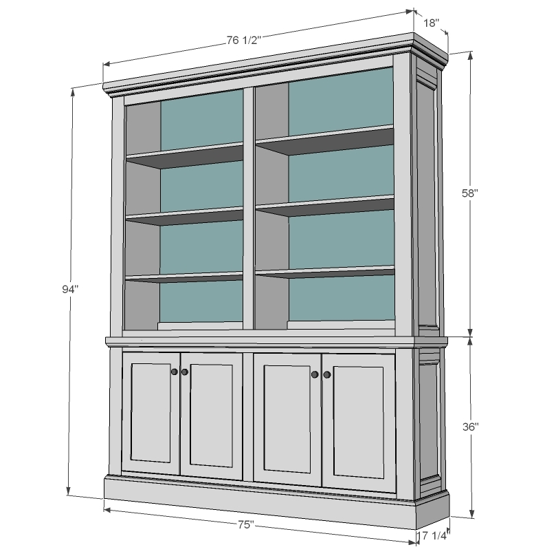 dimensions for dining room cabinet with hutch plans