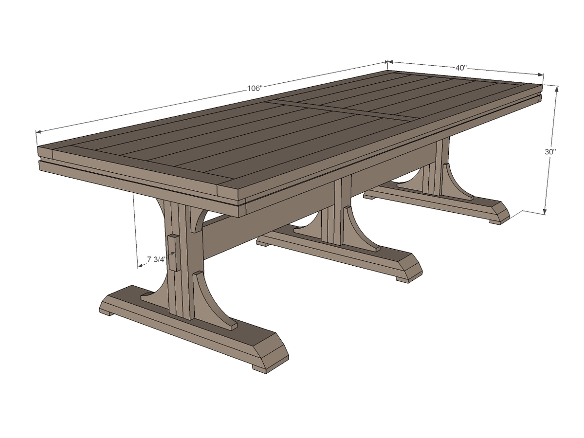 triple pedestal farmhouse table plans