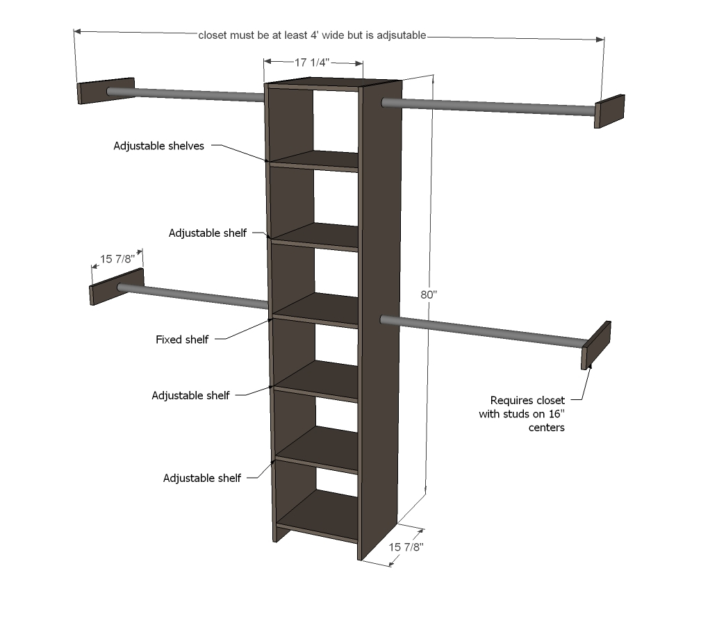 Wood work build a closet organizer do it yourself pdf plans for Do it yourself blueprints