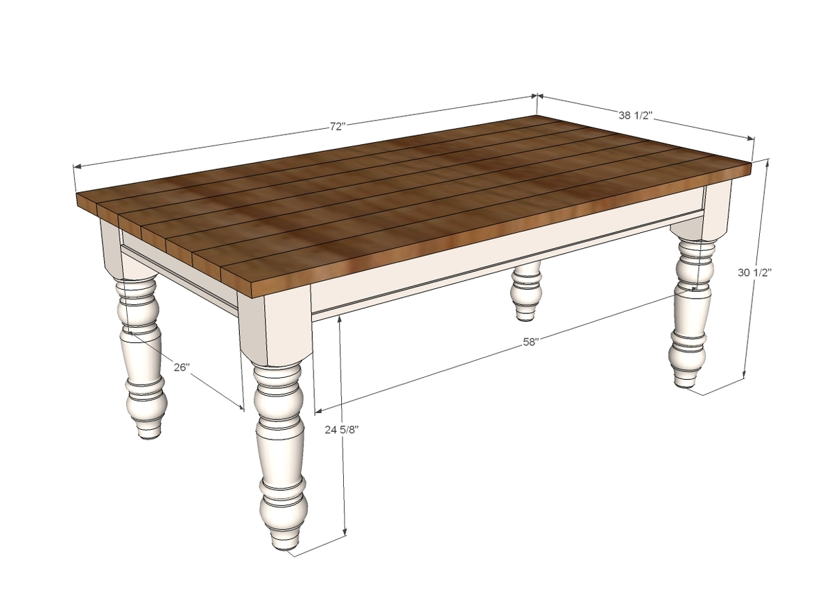 Ana white husky farmhouse table diy projects - Kitchen table bench plans ...