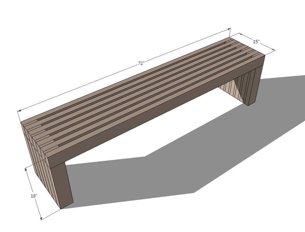 slat top bench dimensions diagram