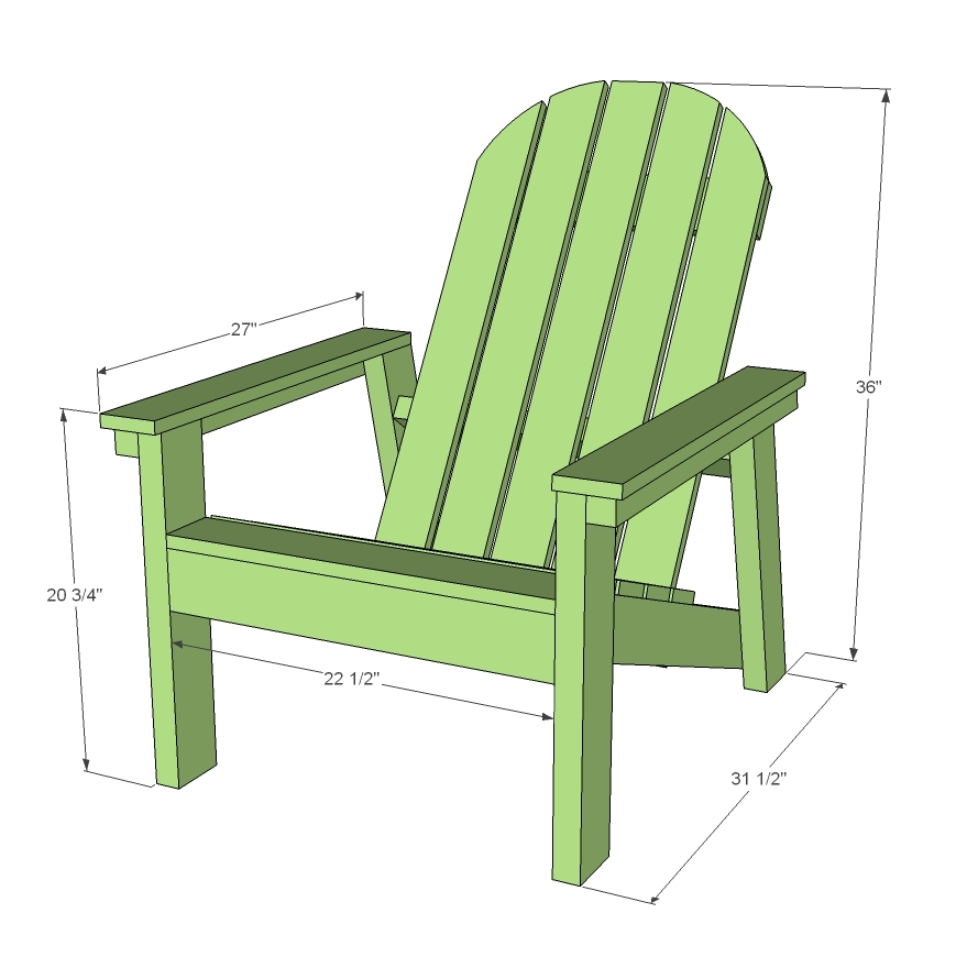 dimensions diagram of Adirondack chair