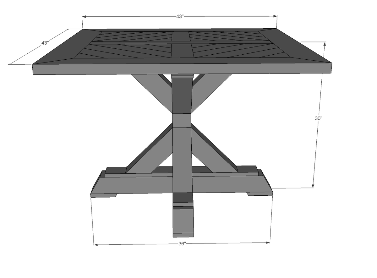 dimensions for farmhouse pedestal table