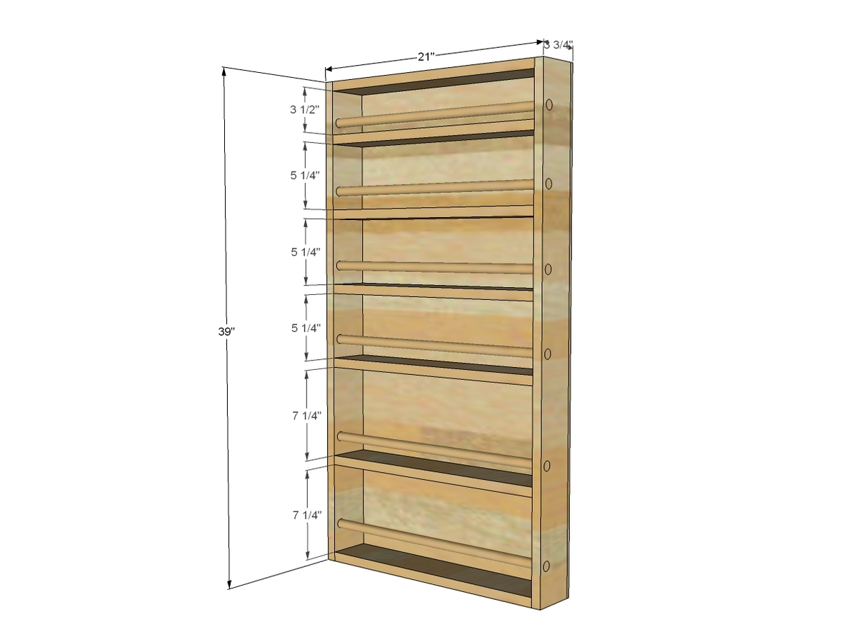 dimensions diagram for door spice rack