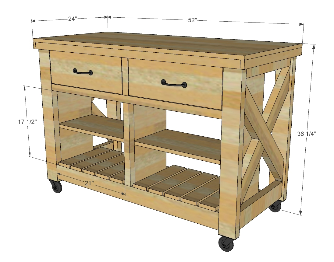 dimensions for rustic C kitchen island