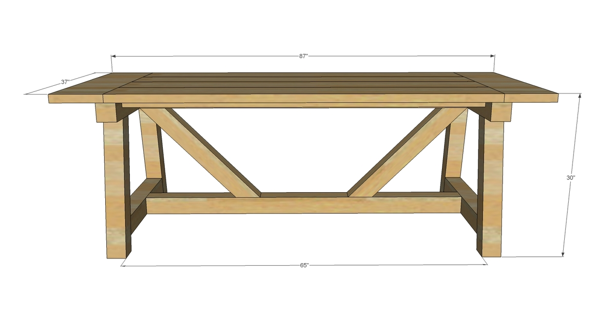 truss beam table dimensions
