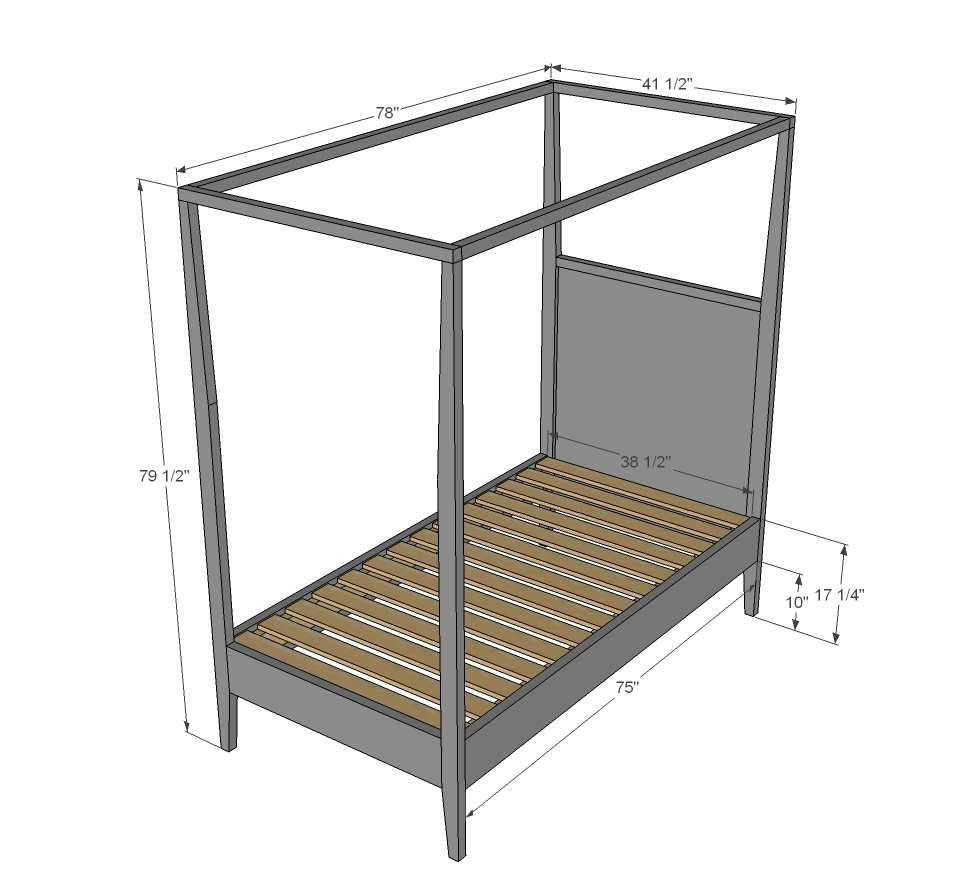 Twin canopy bed plans plans diy free download ple wood bed plans build furniture plans - How to build a twin size bed frame ...