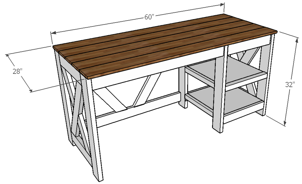 Farmhousese X Desk Dimensions
