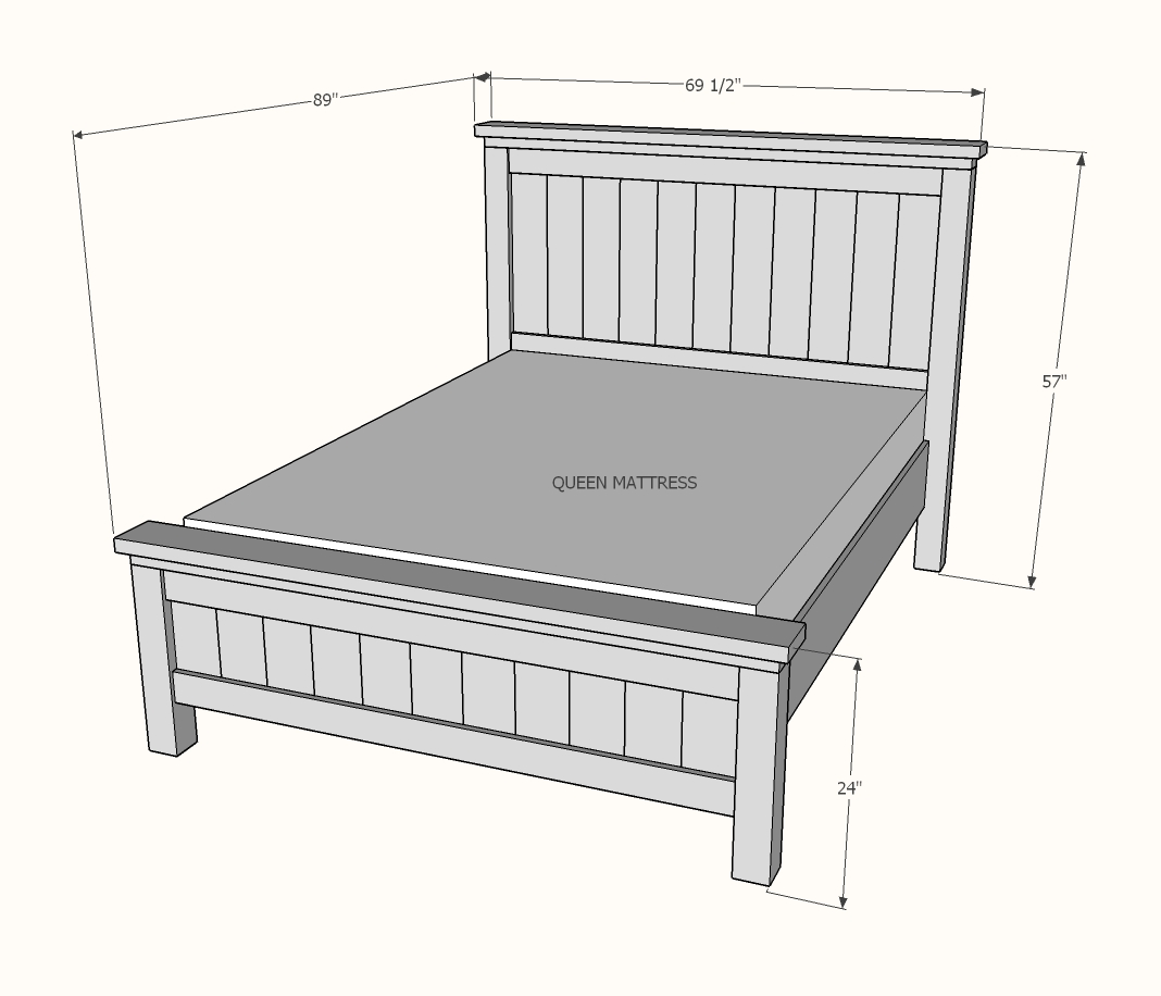 diagram of queen farmhouse bed showing dimensions