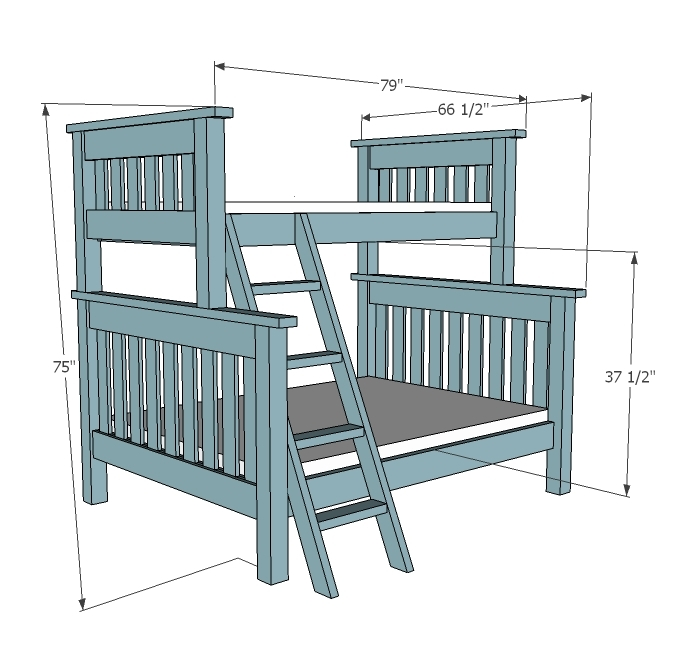 dimensions diagram for full over twin bunk beds