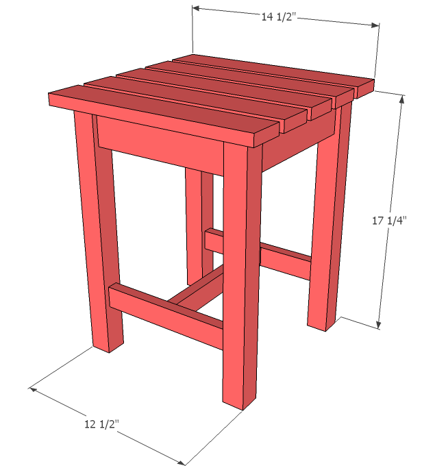 dimension diagram for outdoor side table