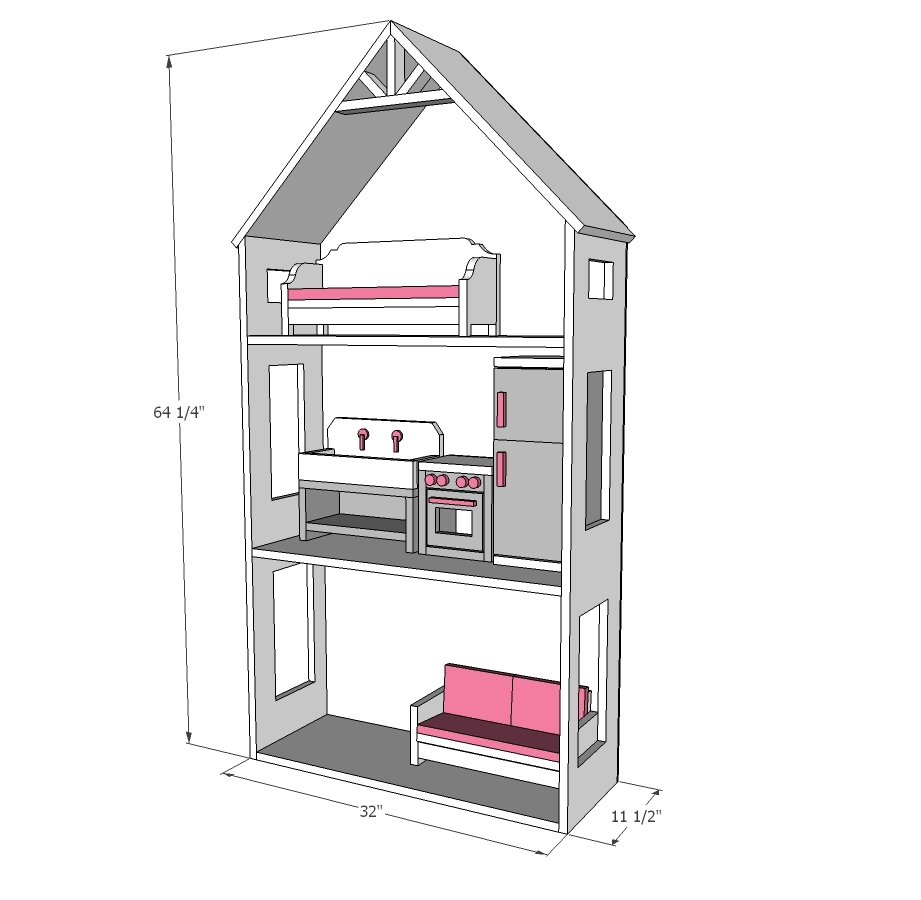 american girl dollhouse dimensions