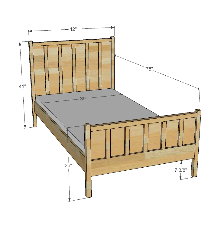 Standard Bed Sizes Chart. This chart is an effort at providing standard information about bed sizes. These matress dimensions have been measured in inches. Twin Bed Size / Single Bed Size: 39