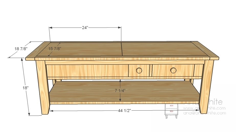 Coffee table plans and measurements woodworktips Homemade coffee table plans